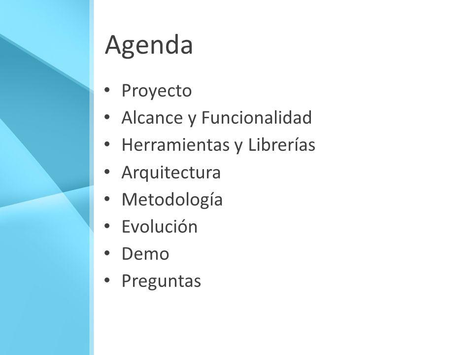 Agenda Proyecto Alcance y Funcionalidad Herramientas y Librerías Arquitectura Metodología Evolución Demo Preguntas