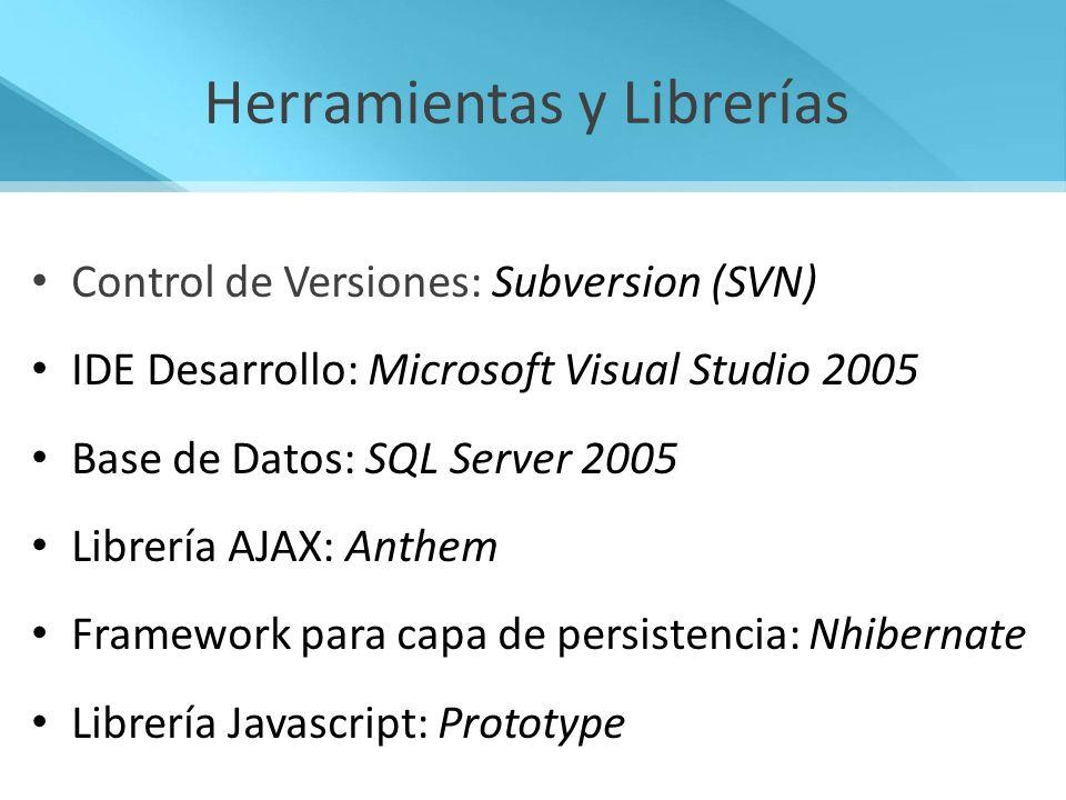 Control de Versiones: Subversion (SVN) IDE Desarrollo: Microsoft Visual Studio 2005 Base de Datos: SQL Server 2005 Librería AJAX: Anthem Framework par