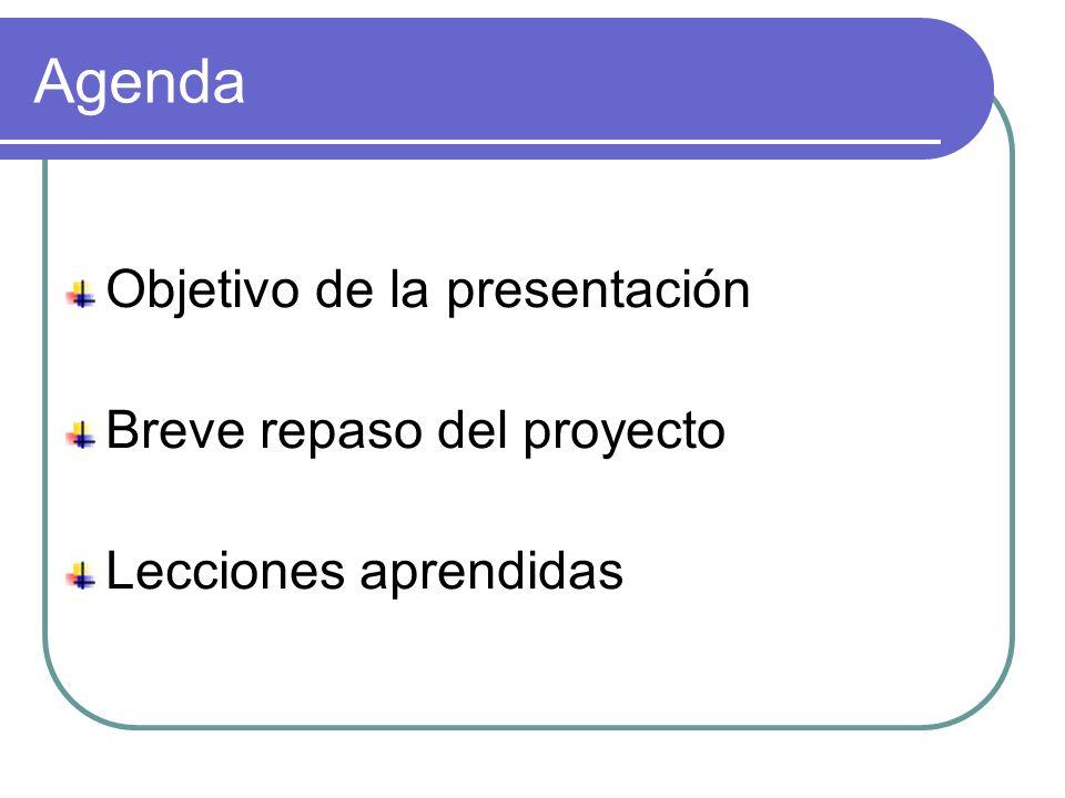 Agenda Objetivo de la presentación Breve repaso del proyecto Lecciones aprendidas