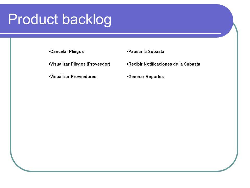 Product backlog Cancelar Pliegos Pausar la Subasta Visualizar Pliegos (Proveedor) Recibir Notificaciones de la Subasta Visualizar Proveedores Generar