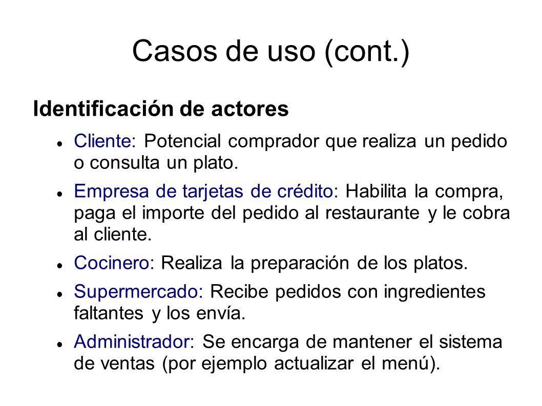 Casos de uso (cont.) Identificación de actores Cliente: Potencial comprador que realiza un pedido o consulta un plato.