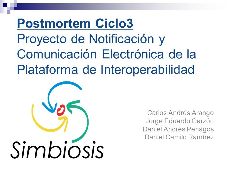 Postmortem Ciclo3 Proyecto de Notificación y Comunicación Electrónica de la Plataforma de Interoperabilidad Carlos Andrés Arango Jorge Eduardo Garzón