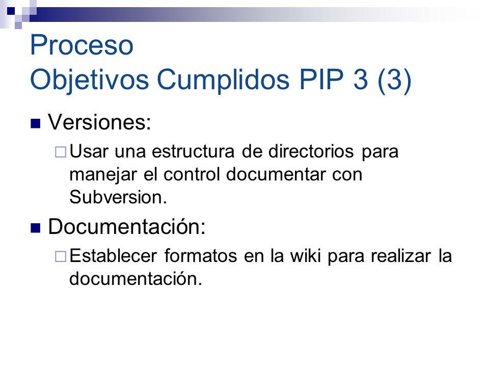 Proceso Objetivos Cumplidos PIP 3 (3) Versiones: Usar una estructura de directorios para manejar el control documentar con Subversion. Documentación: