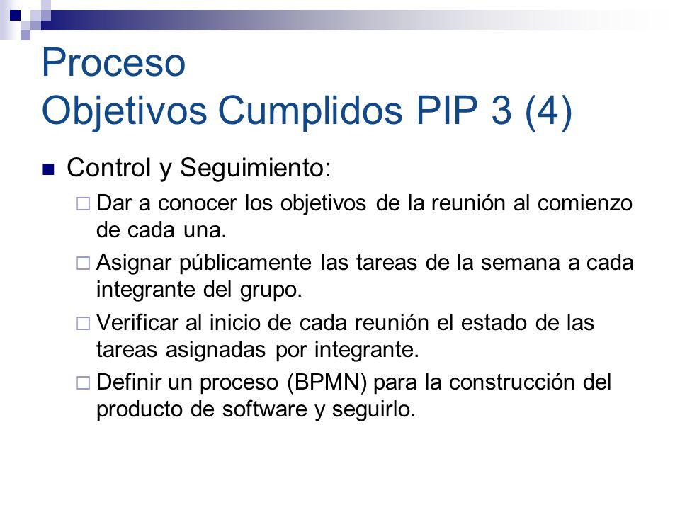 Proceso Objetivos Cumplidos PIP 3 (4) Control y Seguimiento: Dar a conocer los objetivos de la reunión al comienzo de cada una. Asignar públicamente l