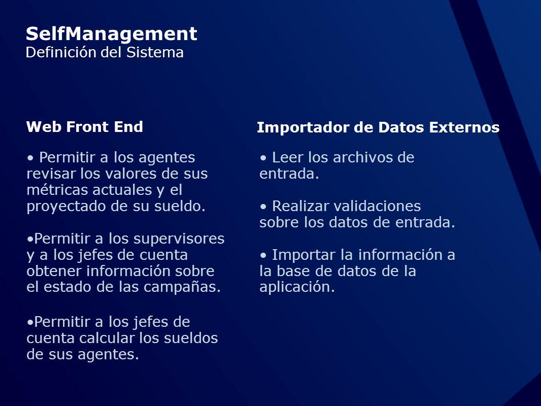 SelfManagement Definición del Sistema Web Front End Importador de Datos Externos Permitir a los agentes revisar los valores de sus métricas actuales y el proyectado de su sueldo.