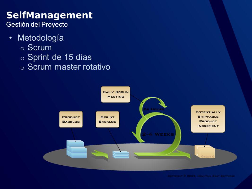 Gestión del Proyecto Metodología o Scrum o Sprint de 15 días o Scrum master rotativo