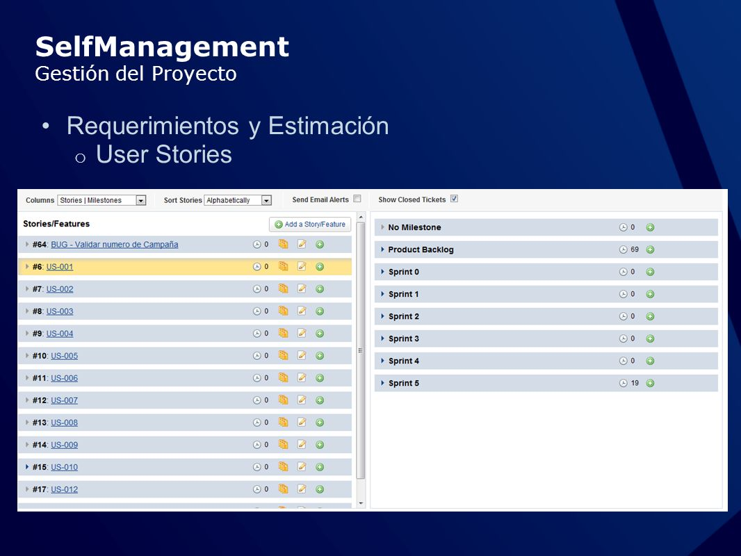 SelfManagement Gestión del Proyecto Requerimientos y Estimación o User Stories
