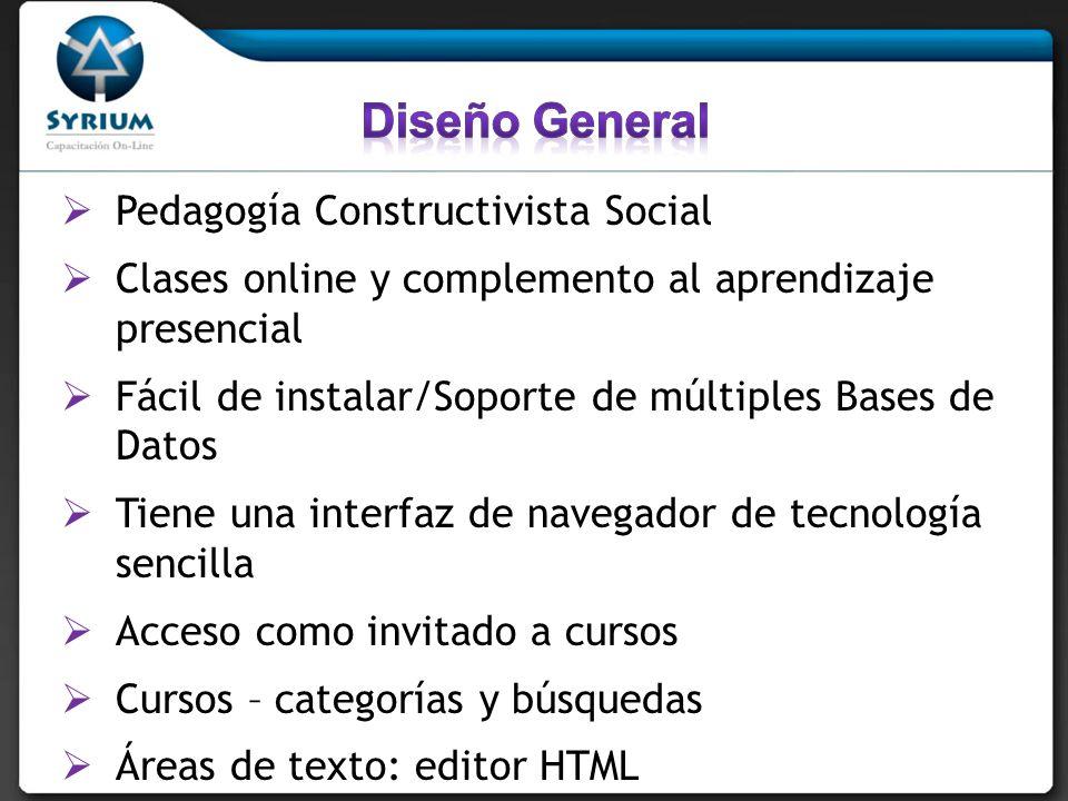 Pedagogía Constructivista Social Clases online y complemento al aprendizaje presencial Fácil de instalar/Soporte de múltiples Bases de Datos Tiene una