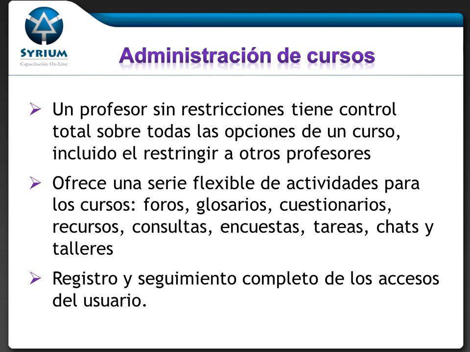 Un profesor sin restricciones tiene control total sobre todas las opciones de un curso, incluido el restringir a otros profesores Ofrece una serie fle