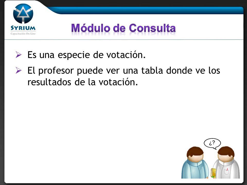 Es una especie de votación. El profesor puede ver una tabla donde ve los resultados de la votación.