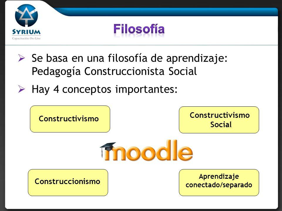 Se basa en una filosofía de aprendizaje: Pedagogía Construccionista Social Hay 4 conceptos importantes: Constructivismo Social Construccionismo Aprend