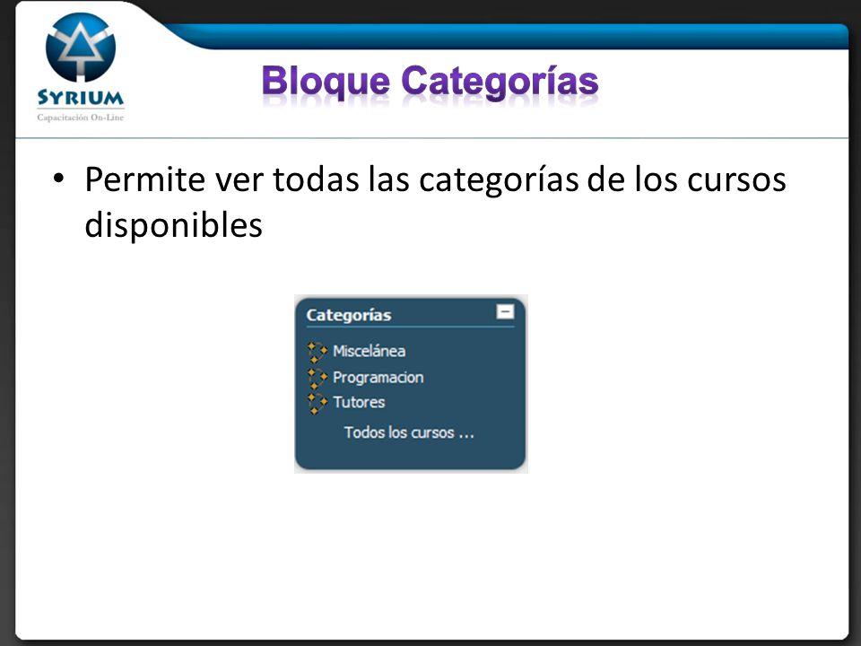 Permite ver todas las categorías de los cursos disponibles