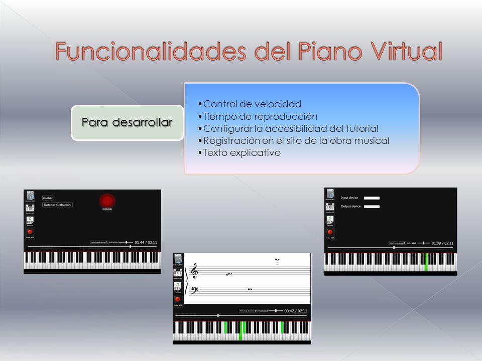 Control de velocidad Tiempo de reproducción Configurar la accesibilidad del tutorial Registración en el sito de la obra musical Texto explicativo Para desarrollar