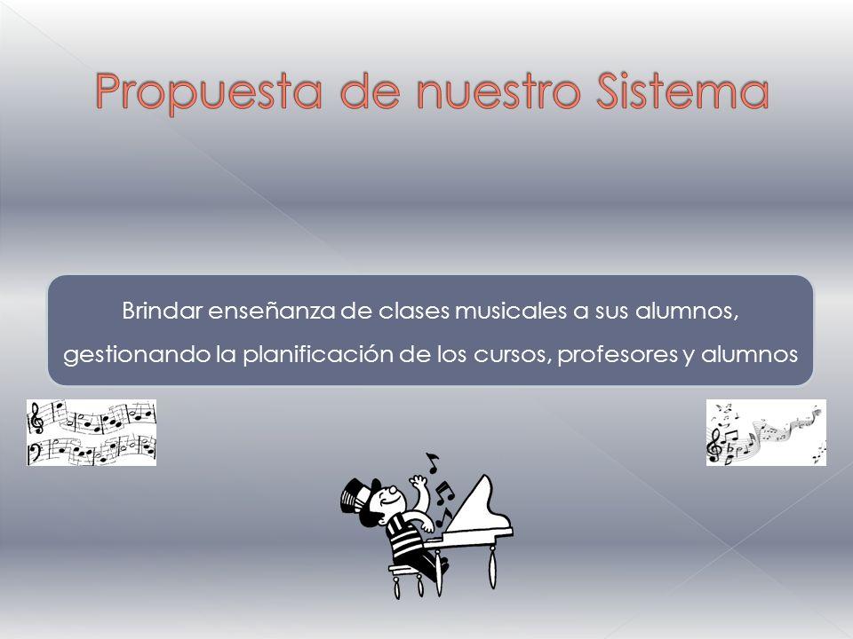 Brindar enseñanza de clases musicales a sus alumnos, gestionando la planificación de los cursos, profesores y alumnos