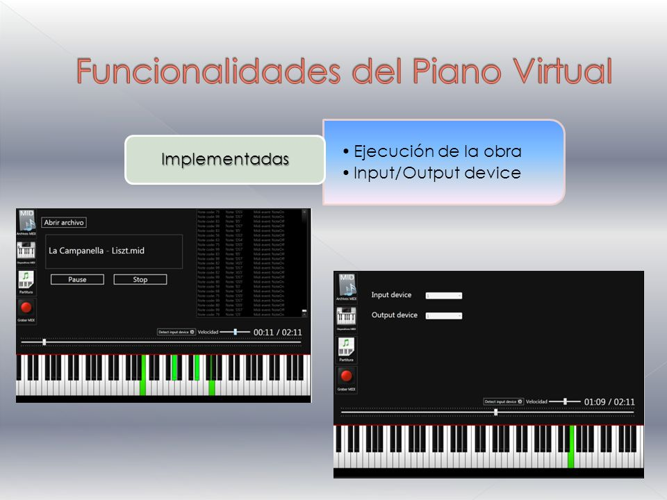 Ejecución de la obra Input/Output device Implementadas