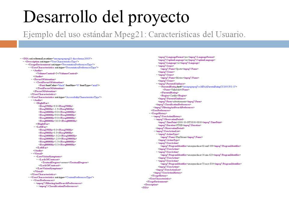 Desarrollo del proyecto Ejemplo del uso estándar Mpeg21: Características del Usuario.