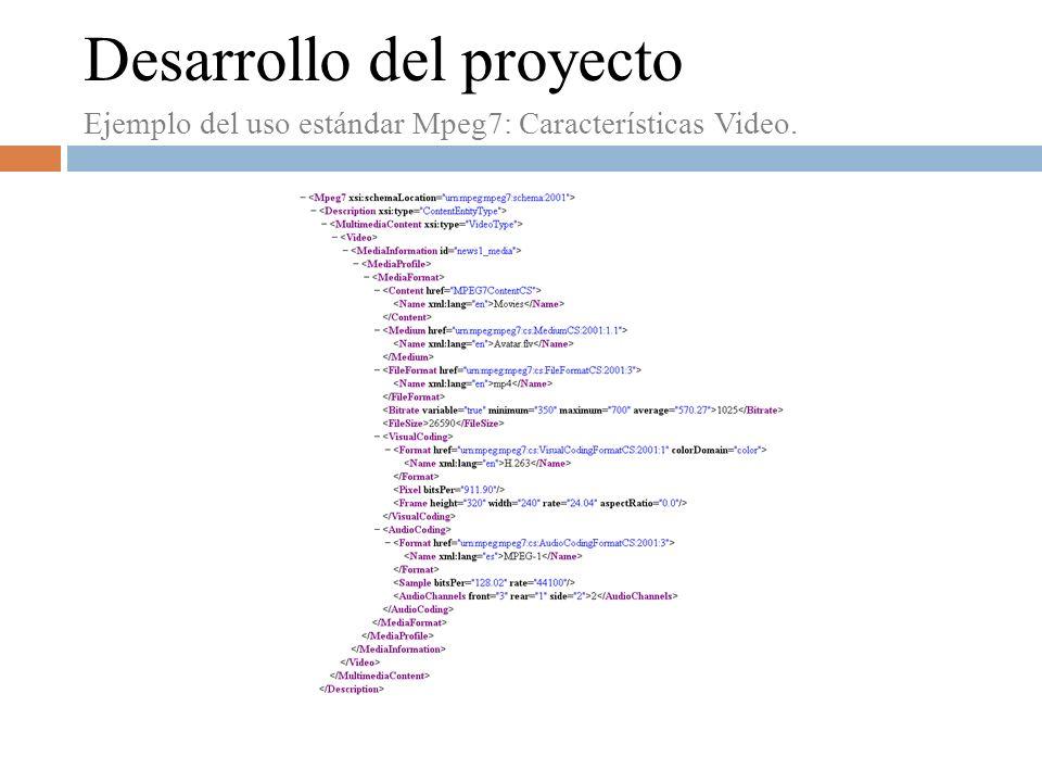 Desarrollo del proyecto Ejemplo del uso estándar Mpeg7: Características Video.
