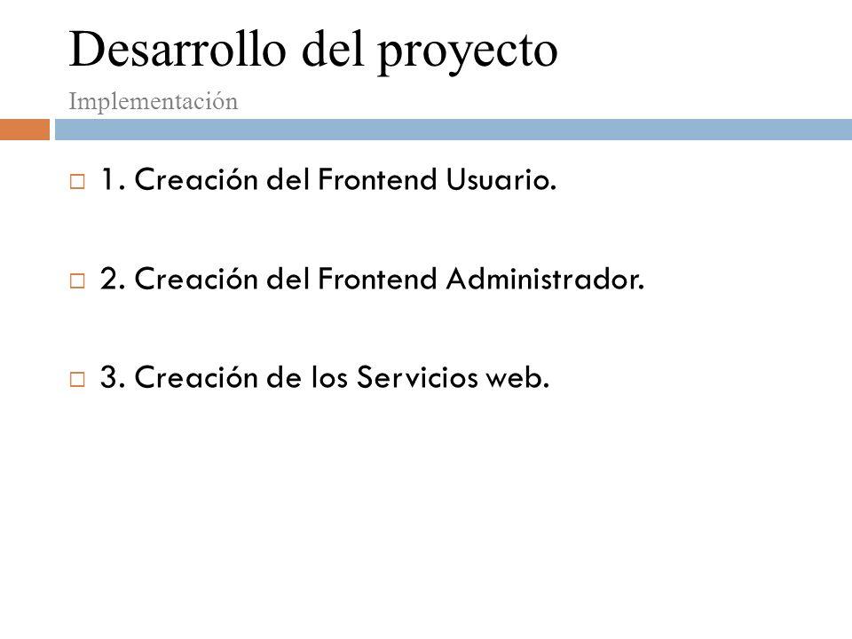Desarrollo del proyecto Implementación 1. Creación del Frontend Usuario.