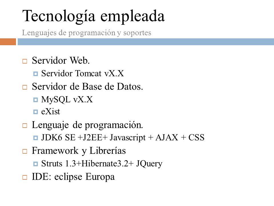 Servidor Web. Servidor Tomcat vX.X Servidor de Base de Datos.