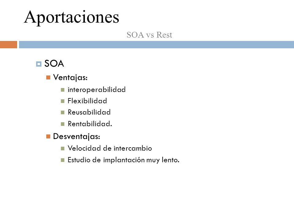SOA Ventajas: interoperabilidad Flexibilidad Reusabilidad Rentabilidad.