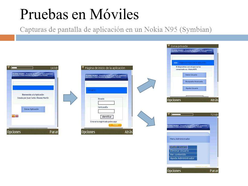 Pruebas en Móviles Capturas de pantalla de aplicación en un Nokia N95 (Symbian)