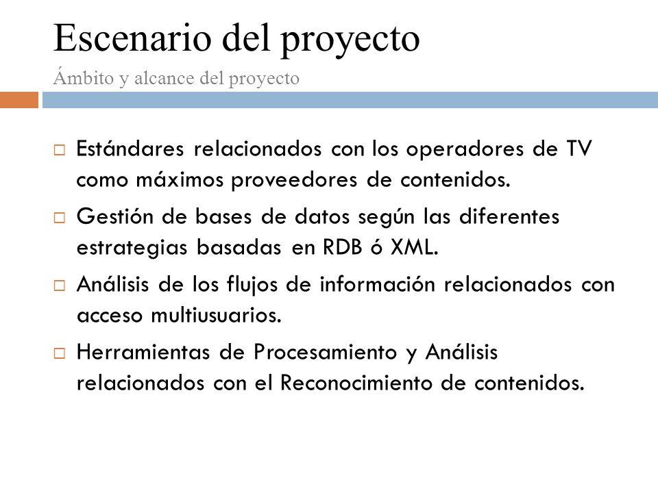 Escenario del proyecto Estándares relacionados con los operadores de TV como máximos proveedores de contenidos.