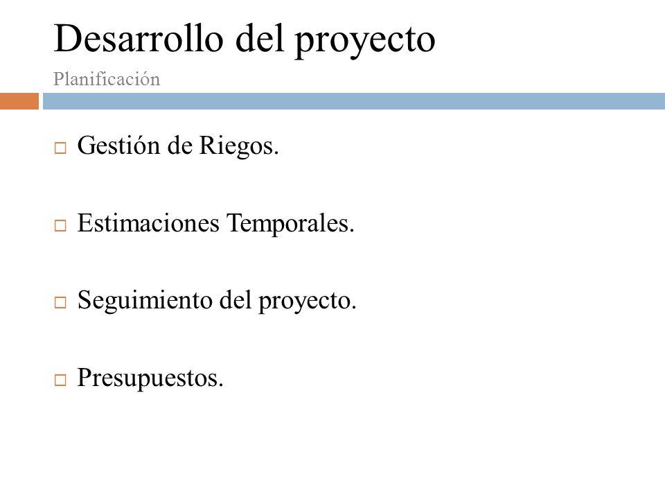 Planificación Desarrollo del proyecto Gestión de Riegos.
