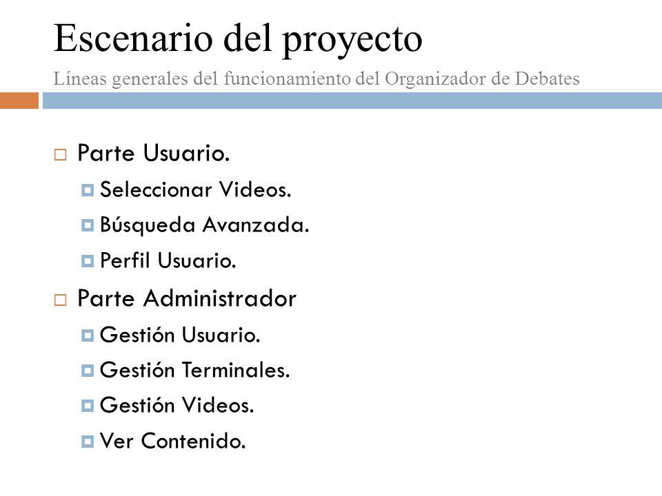 Índice Escenario del proyecto.Objetivos. Esquema general del Proyecto.