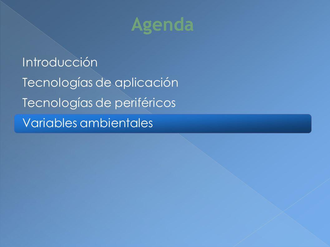 Introducción Tecnologías de aplicación Tecnologías de periféricos Variables ambientales Agenda