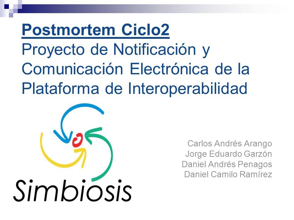 Postmortem Ciclo2 Proyecto de Notificación y Comunicación Electrónica de la Plataforma de Interoperabilidad Carlos Andrés Arango Jorge Eduardo Garzón Daniel Andrés Penagos Daniel Camilo Ramírez