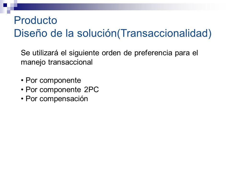 Producto Diseño de la solución(Transaccionalidad) Se utilizará el siguiente orden de preferencia para el manejo transaccional Por componente Por componente 2PC Por compensación