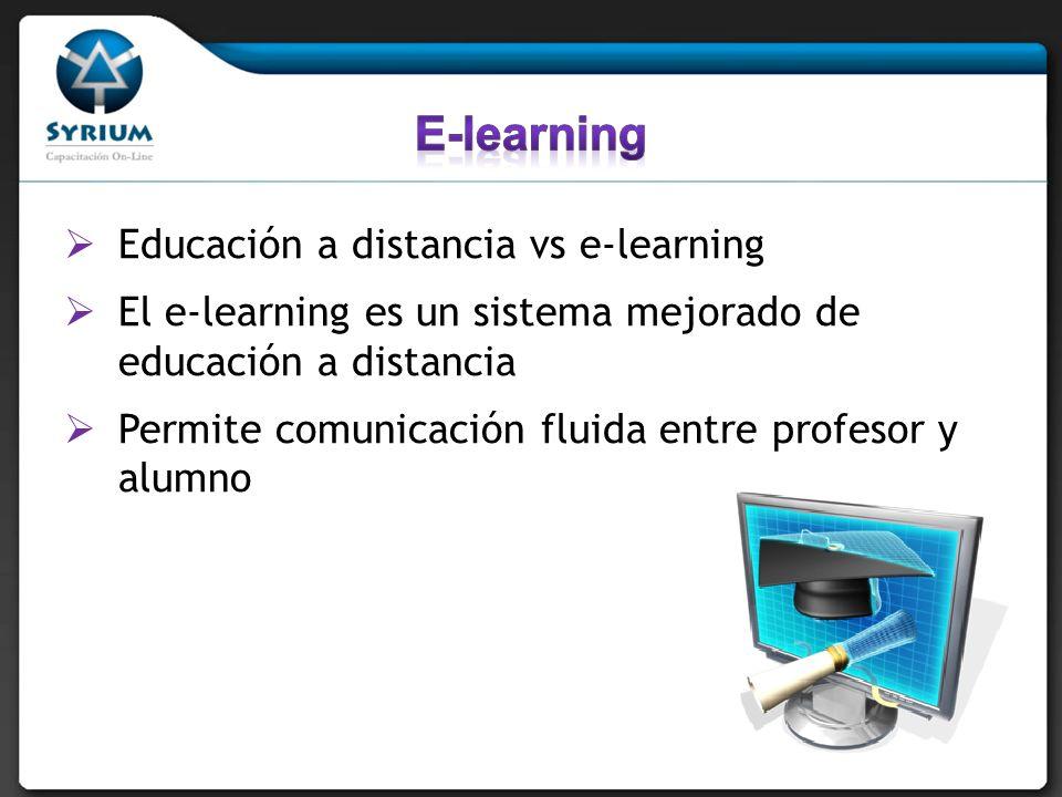 Educación a distancia vs e-learning El e-learning es un sistema mejorado de educación a distancia Permite comunicación fluida entre profesor y alumno