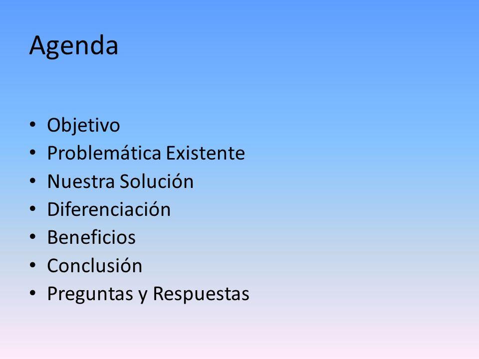 Agenda Objetivo Problemática Existente Nuestra Solución Diferenciación Beneficios Conclusión Preguntas y Respuestas