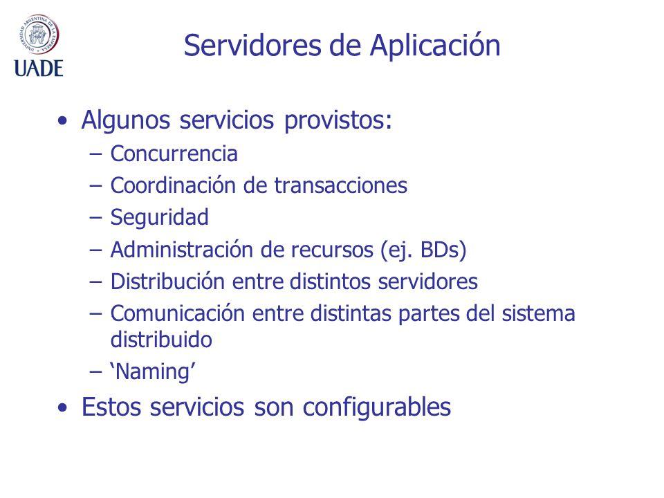 Servidores de Aplicación Algunos servicios provistos: –Concurrencia –Coordinación de transacciones –Seguridad –Administración de recursos (ej. BDs) –D