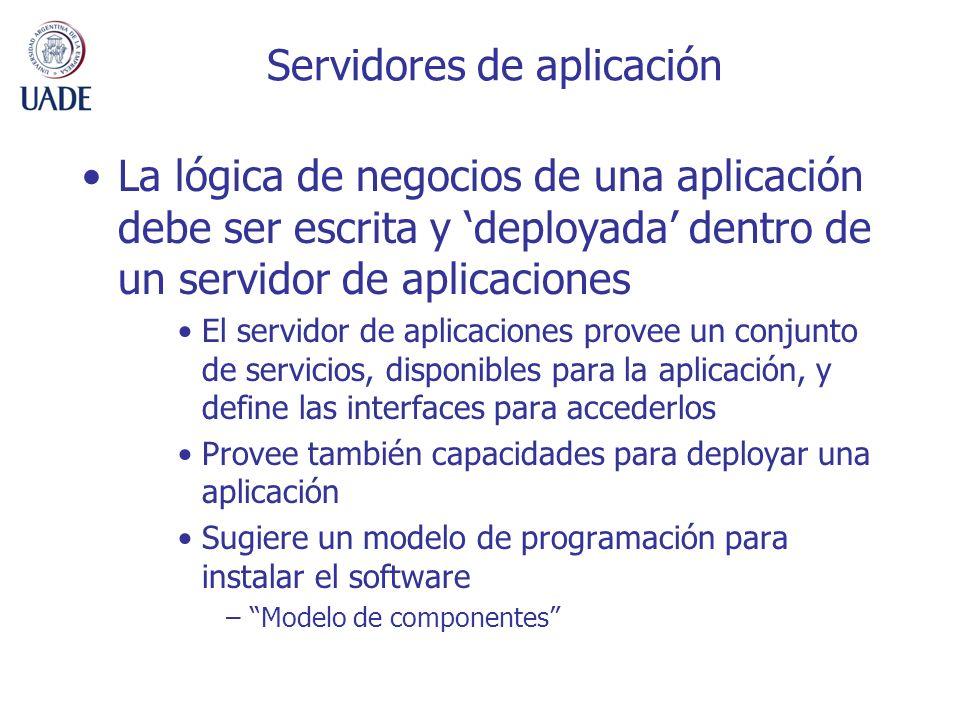Servidores de aplicación La lógica de negocios de una aplicación debe ser escrita y deployada dentro de un servidor de aplicaciones El servidor de aplicaciones provee un conjunto de servicios, disponibles para la aplicación, y define las interfaces para accederlos Provee también capacidades para deployar una aplicación Sugiere un modelo de programación para instalar el software –Modelo de componentes