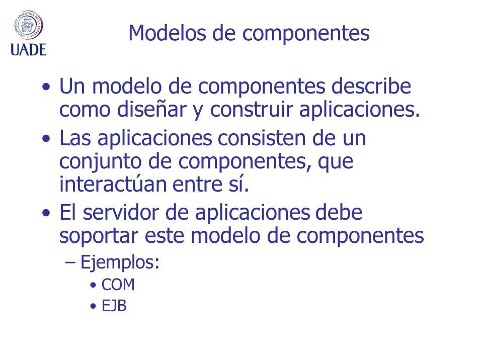 Modelos de componentes Un modelo de componentes describe como diseñar y construir aplicaciones. Las aplicaciones consisten de un conjunto de component