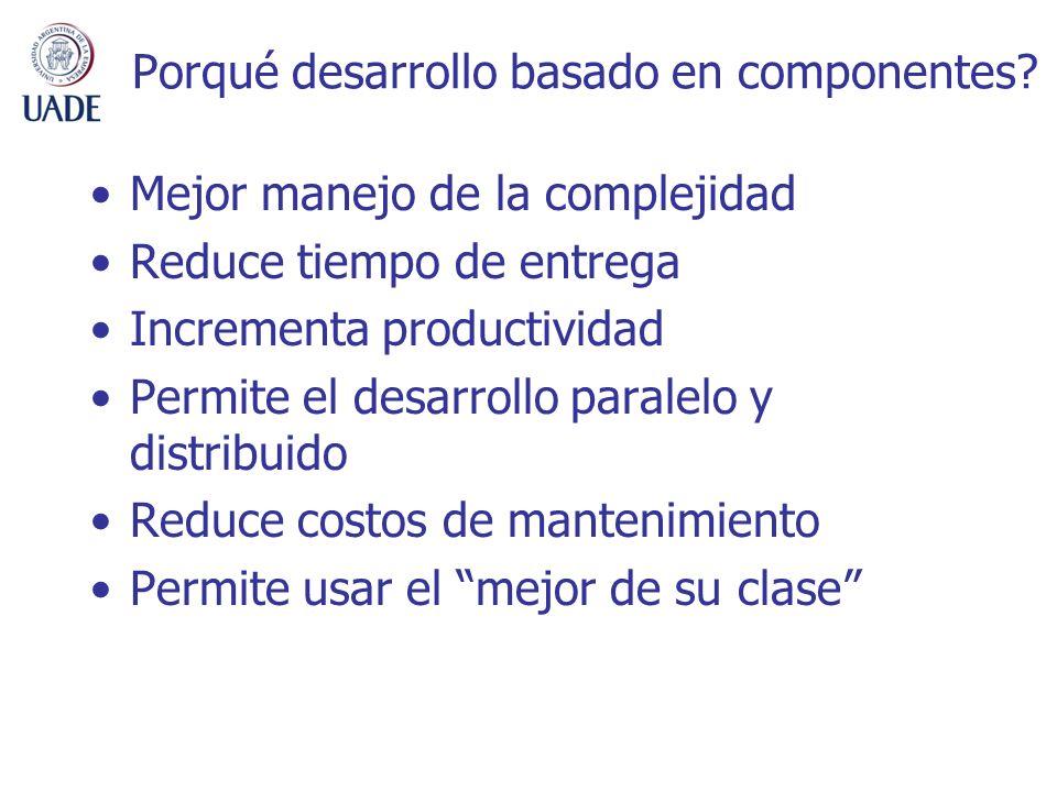 Porqué desarrollo basado en componentes? Mejor manejo de la complejidad Reduce tiempo de entrega Incrementa productividad Permite el desarrollo parale