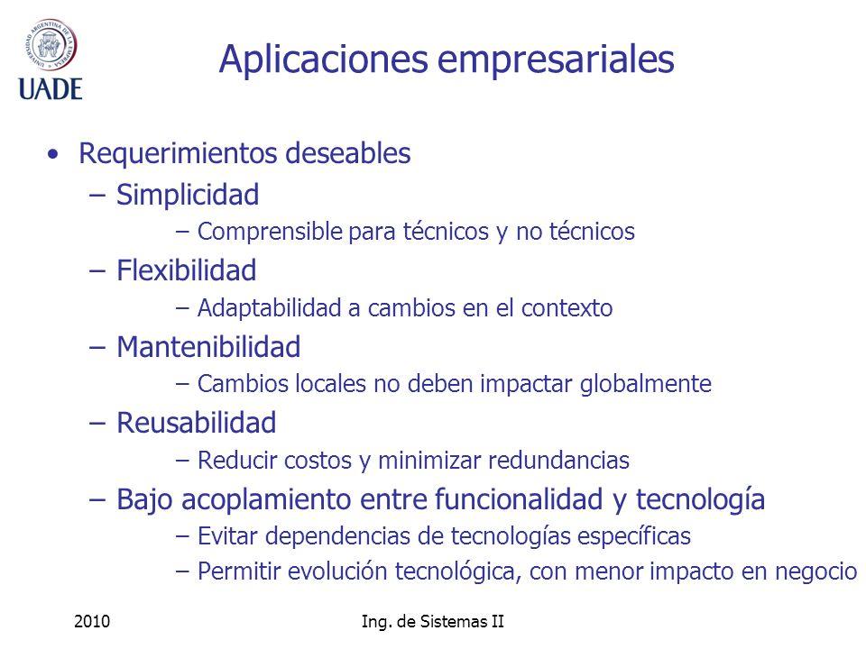 2010Ing. de Sistemas II Aplicaciones empresariales Requerimientos deseables –Simplicidad –Comprensible para técnicos y no técnicos –Flexibilidad –Adap