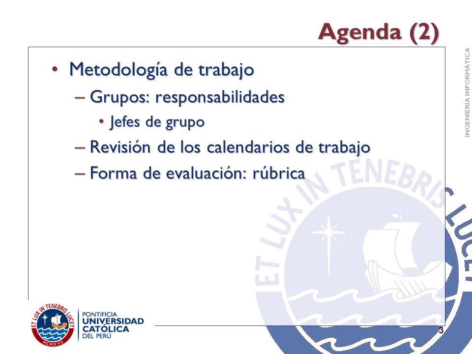 3 Agenda (2) Metodología de trabajoMetodología de trabajo – Grupos: responsabilidades Jefes de grupoJefes de grupo – Revisión de los calendarios de trabajo – Forma de evaluación: rúbrica