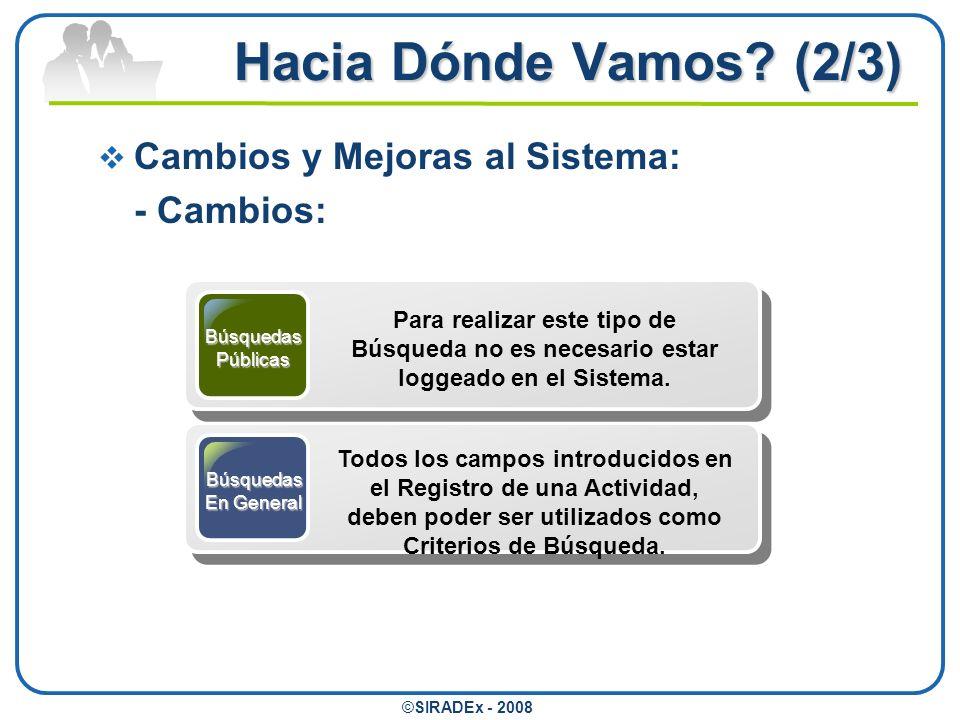Hacia Dónde Vamos? (2/3) ©SIRADEx - 2008 Cambios y Mejoras al Sistema: - Cambios: BúsquedasPúblicas Para realizar este tipo de Búsqueda no es necesari