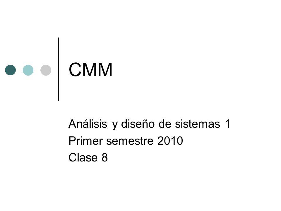 CMM Capability Maturity Model El modelo de capacidad y madurez, es un modelo basado en observación, se encarga de la evaluación de los procesos de una organización, inicialmente fue diseñado para los procesos relativos al desarrollo e implementación de software para el SEI por la universidad Carnegie- Mellon