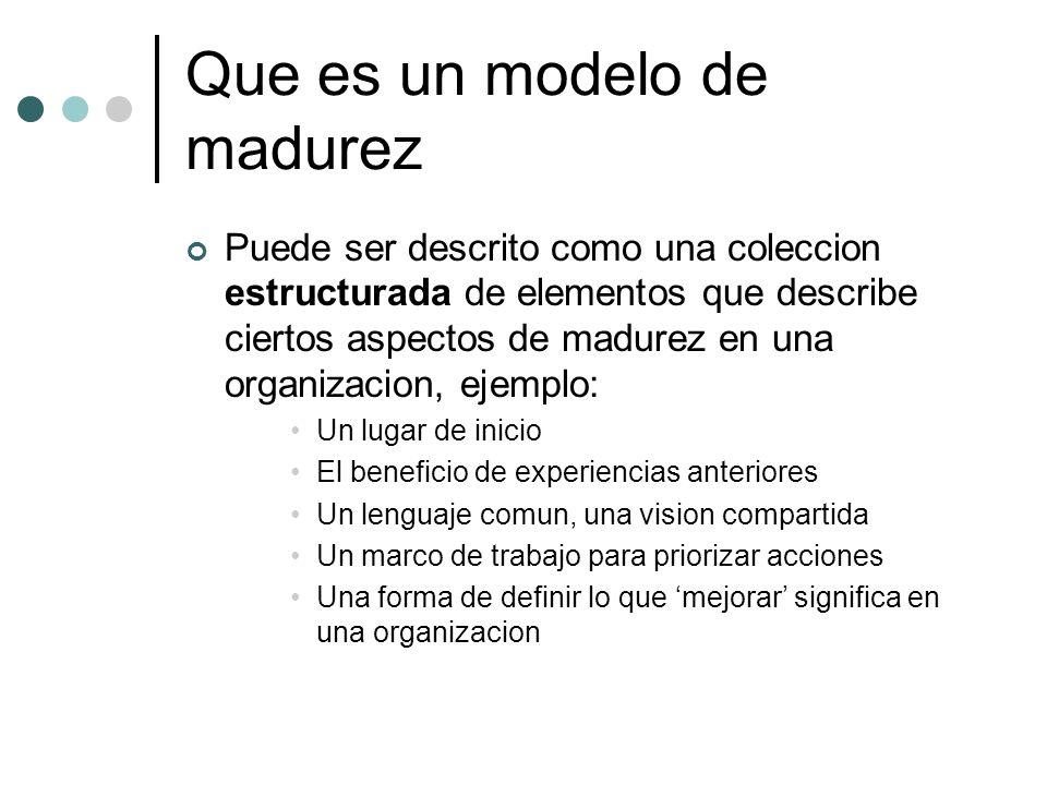 CMM Estructura Niveles de madurez: Proceso de 5 niveles*** Áreas claves de proceso: una área clave de proceso (KPA) identifica un conjunto de actividades relacionadas, que al ser realizadas colectivamente, alcanzan un conjunto de metas consideradas importantes Metas: Las metas de un KPA sumarizan los estados que deben existir para concluir que se ha implementado dichos procesos de una manera efectiva y duradera Características comunes: incluyen practicas que implementan e institucionalizan los KPA Practicas claves: describen los elementos de infraestructura y practica que contribuyen de la manera mas efectiva a la implementación e institucionalización de los KPA
