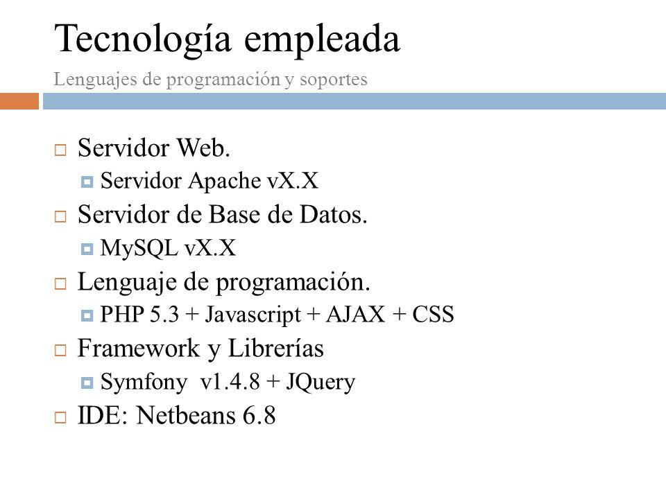 Servidor Web.Servidor Apache vX.X Servidor de Base de Datos.