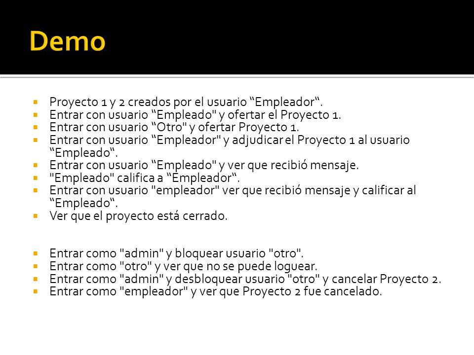Proyecto 1 y 2 creados por el usuario Empleador.