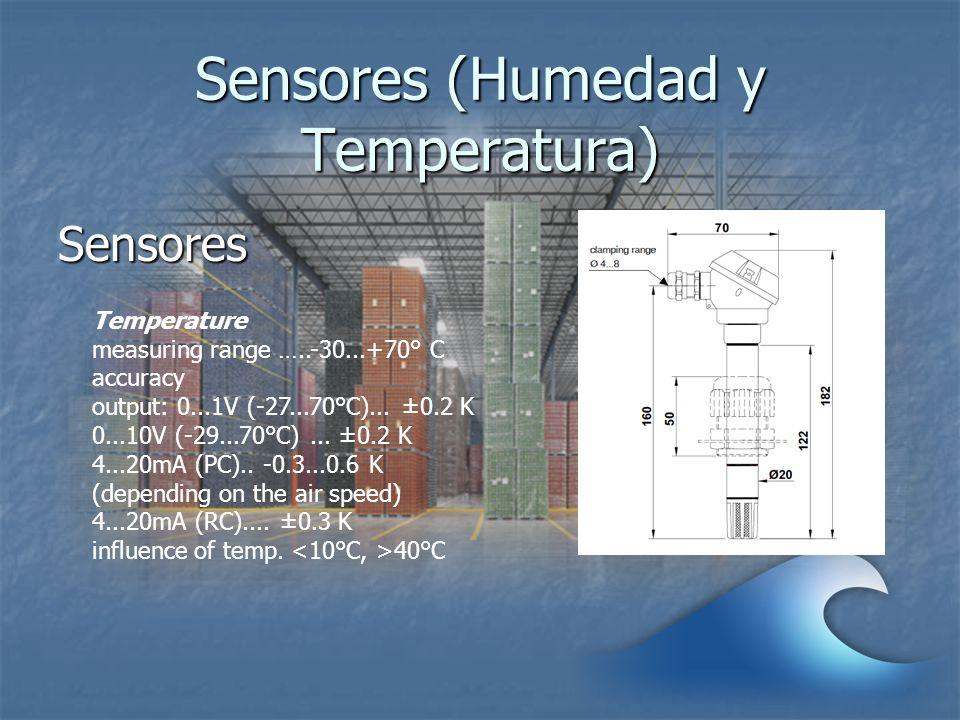 Sensores (Humedad y Temperatura) Sensores Temperature measuring range …..-30...+70° C accuracy output: 0...1V (-27...70°C)... ±0.2 K 0...10V (-29...70