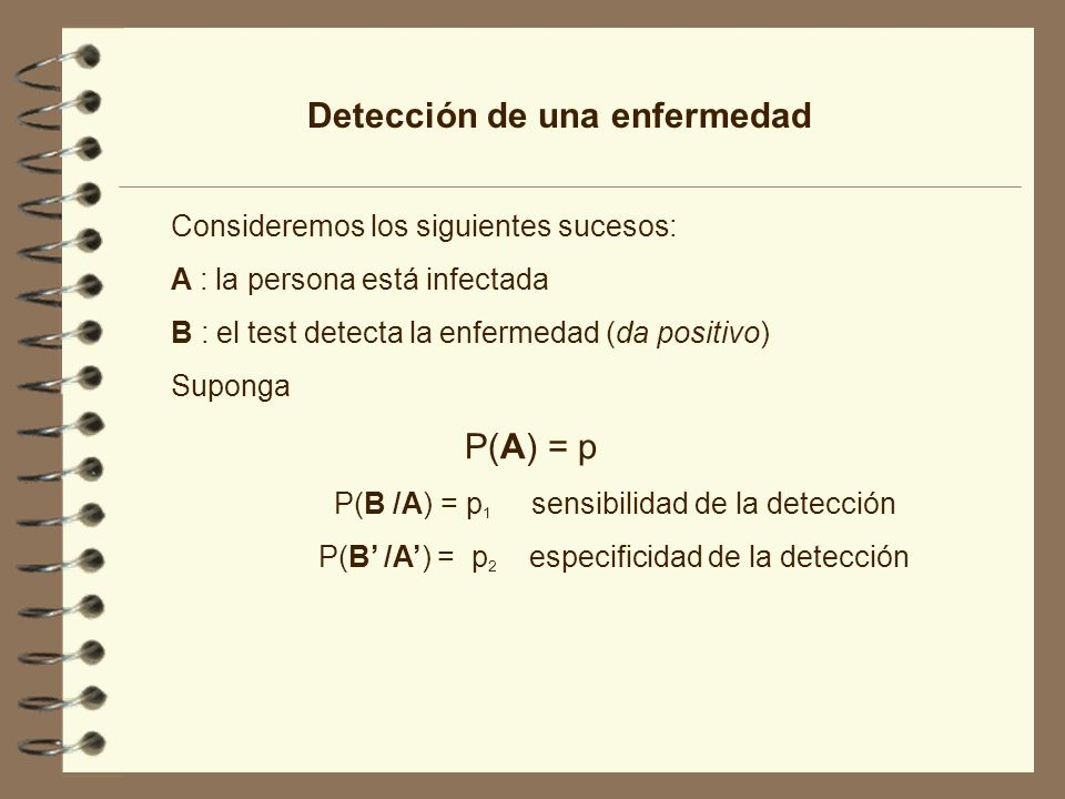 Detección de una enfermedad Consideremos los siguientes sucesos: A : la persona está infectada B : el test detecta la enfermedad (da positivo) Suponga