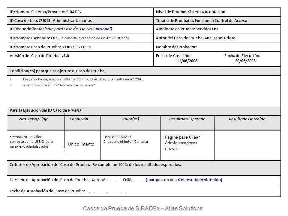 ID/Nombre Sistema/Proyecto: SIRADExNivel de Prueba: Sistema/Aceptación ID Caso de Uso: CU013: Administrar UsuariosTipo(s) de Prueba(s): Funcional/Control de Acceso ID Requerimiento: (solo para Caso de Uso No Funcional)Ambiente de Prueba: Servidor LISI ID/Nombre Escenario: E02: Se cancela la creacion de un Administrador Autor del Caso de Prueba: Ana Isabel Prieto ID/Nombre Caso de Prueba: CU013E02CP001Nombre del Probador: Versión del Caso de Prueba: v1.0Fecha de Creación: 11/06/2008 Fecha de Ejecución: 20/06/2008 Condición(es) para que se ejecute el Caso de Prueba: El usuario ha ingresado al sistema con loging asuarez y la contraseña 1234.
