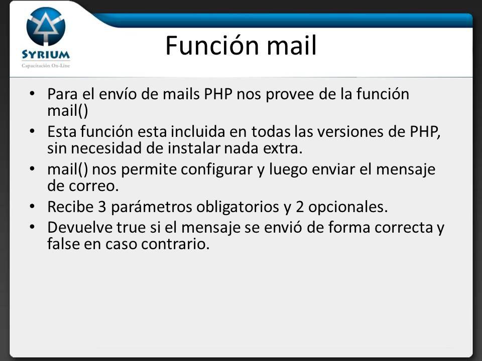 Parámetros obligatorios Destinatario: la dirección o direcciones de correo que van a recibir el mensaje.