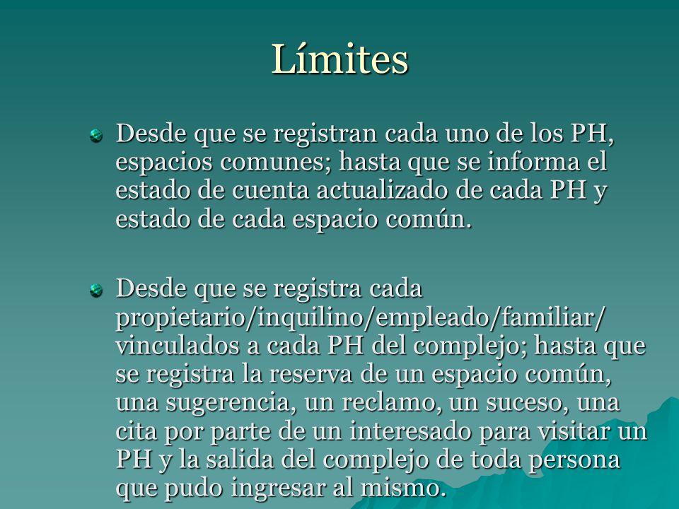Límites Desde que se registran cada uno de los PH, espacios comunes; hasta que se informa el estado de cuenta actualizado de cada PH y estado de cada espacio común.