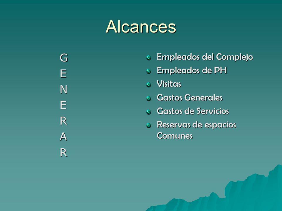 Alcances G E N E R A R Empleados del Complejo Empleados de PH Visitas Gastos Generales Gastos de Servicios Reservas de espacios Comunes